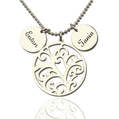 Family Tree Necklace with Custom Name Charm Silver - Crafted By Birthstone Design™