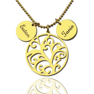 Family Tree Necklace With Name Charm For Mom - Crafted By Birthstone Design™