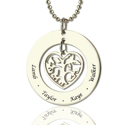 Personalised Heart Family Tree Necklace Sterling Silver - Crafted By Birthstone Design™