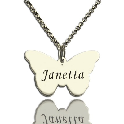 Personalised Charming Butterfly Pendant Name Necklace Silver - Crafted By Birthstone Design™