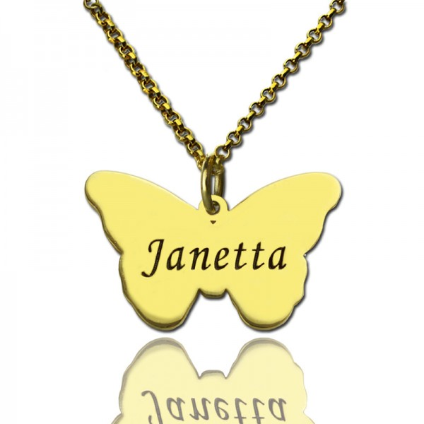Custom Charming Butterfly Pendant Emgraved Name 18ct Gold Plated - Crafted By Birthstone Design™