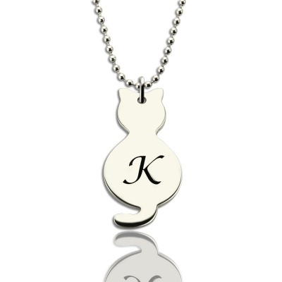 Personalised Tiny Cat Initial Pendant Necklace Silver - Crafted By Birthstone Design™