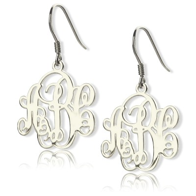 Sterling Silver Script Monogram Earrings - Crafted By Birthstone Design™