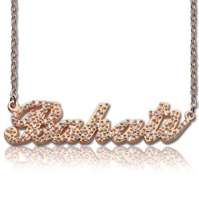 Rose Gold Plated Full Birthstone Carrie Name Necklace  - Crafted By Birthstone Design™