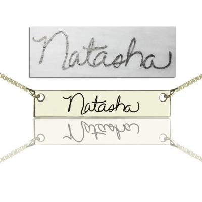 Custom Necklace With Your Signature Bar Silver - Crafted By Birthstone Design™