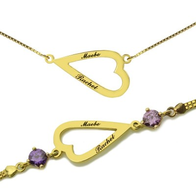 Open Heart Love Necklace  Bracelet Engraved Name - Crafted By Birthstone Design™