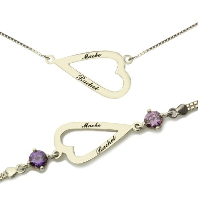 Love Jewellery Set- Open Heart Name Necklace  Bracelet - Crafted By Birthstone Design™
