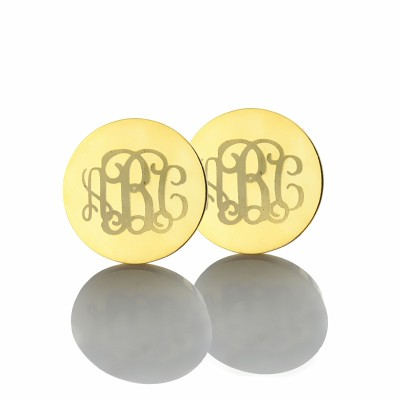 Engraved Monogram Stud Earrings In Gold - Crafted By Birthstone Design™