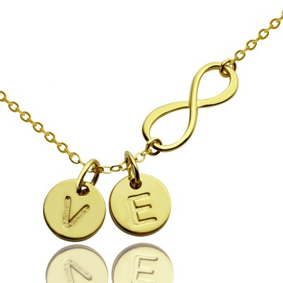 Infinity Necklace With Disc Initial Charm 18ct Gold Plated - Crafted By Birthstone Design™