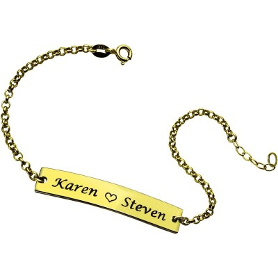 Couple Bar Bracelet Engraved Name 18ct Gold Plated - Crafted By Birthstone Design™