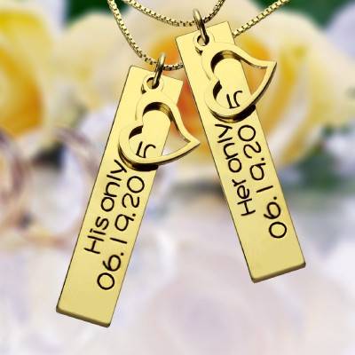 Couples Bar Necklace Engraved Name  Date 18ct Gold Plated - Crafted By Birthstone Design™