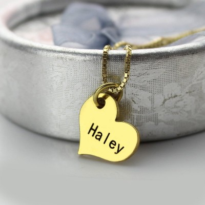 Matching Heart Couples Name Dog Tag Necklaces - Crafted By Birthstone Design™