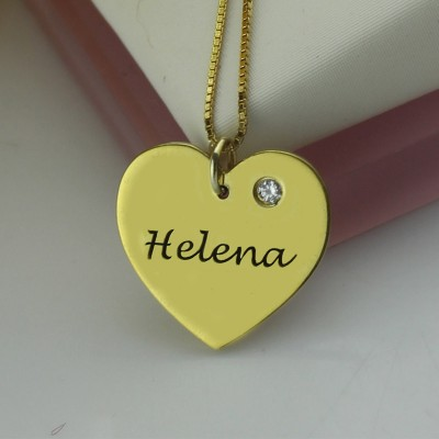 Simple Heart Necklace with Name  Birhtstone 18ct Gold Plated  - Crafted By Birthstone Design™