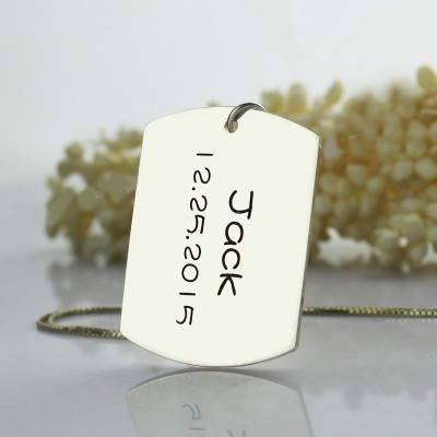 Personalised ID Dog Tag Bar Pendant with Name and Birth Date Silver - Crafted By Birthstone Design™