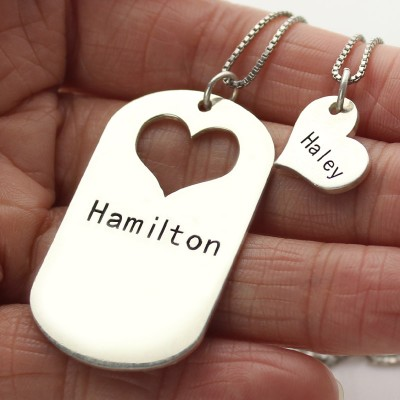 Couples Name Dog Tag Necklace Set with Cut Out Heart - Crafted By Birthstone Design™
