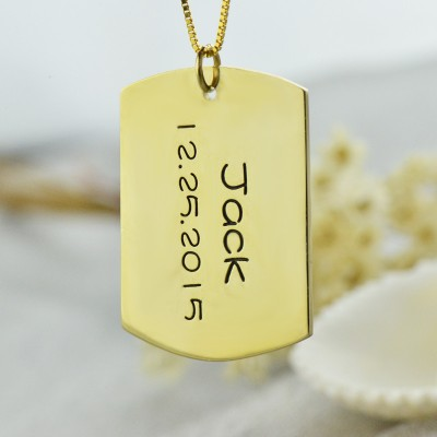 ID Dog Tag Bar Pendant with Name and Birth Date Gold Plated Silver - Crafted By Birthstone Design™