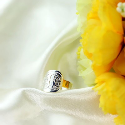 Engraved Designs Monogram Ring Sterling Silver - Crafted By Birthstone Design™