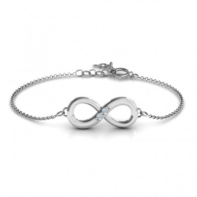 Personalised Twosome  Infinity Bracelet - Crafted By Birthstone Design™