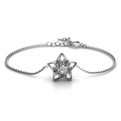 Personalised 3D Star Bracelet with Filigree Detailing - Crafted By Birthstone Design™