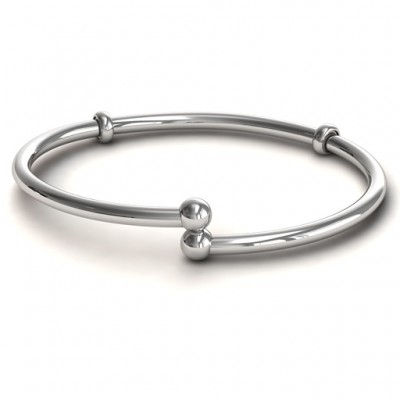 Personalised Silver Flex Bangle Charm Bracelet - Crafted By Birthstone Design™