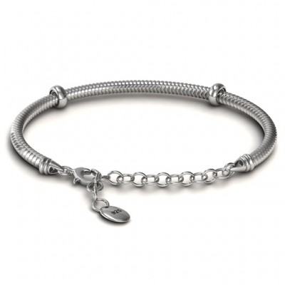 Personalised Silver Snake Bracelet with 1.5  Extender - Crafted By Birthstone Design™