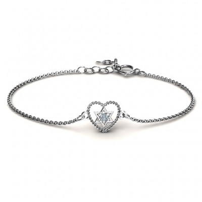 Personalised Chained Heart with Star of David Bracelet - Crafted By Birthstone Design™