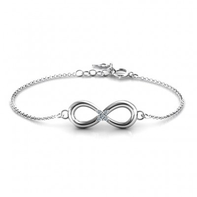 Personalised Classic Infinity With Centre Accents Bracelet - Crafted By Birthstone Design™