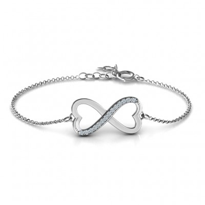 Personalised Double Heart Infinity Bracelet with Accents - Crafted By Birthstone Design™