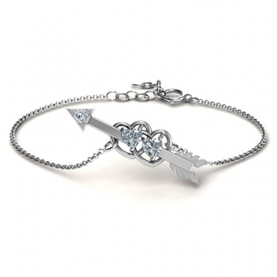 Double Heart with Arrow and Two Heart Stones Promise Bracelet  - Crafted By Birthstone Design™