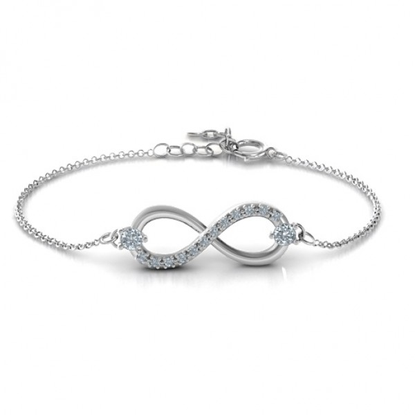 Personalised Double Stone Infinity Accent Bracelet  - Crafted By Birthstone Design™