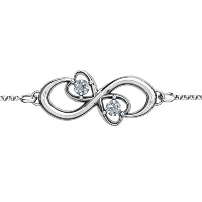 Personalised Duo of Hearts and Stones Infinity Bracelet  - Crafted By Birthstone Design™
