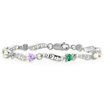 Personalised Embedded Hearts 1-8 Stones Bracelet  - Crafted By Birthstone Design™