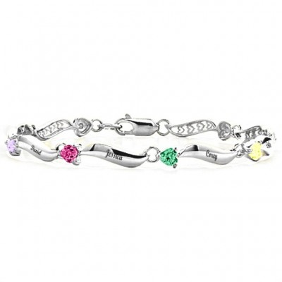 Personalised Engraved Bracelet with 1-8 Stones  - Crafted By Birthstone Design™