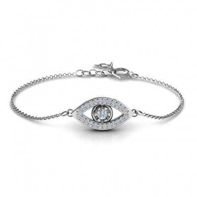 Personalised Evil Eye Bracelet with Accents - Crafted By Birthstone Design™