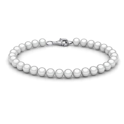Personalised Freshwater Pearl Bracelet with Silver Clasp - Crafted By Birthstone Design™