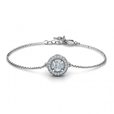 Personalised Halo and Accents Bracelet - Crafted By Birthstone Design™