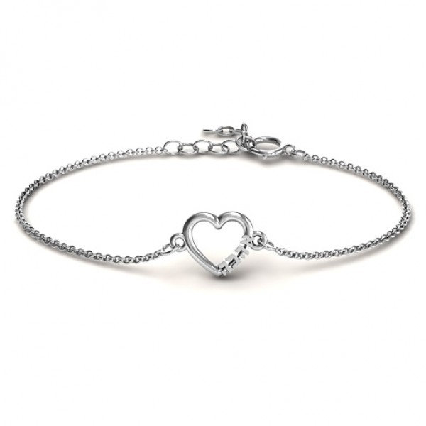 Personalised Heart 'Ahava' Bracelet - Crafted By Birthstone Design™