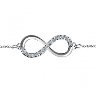 Personalised Infinity Bracelet with Single Accent Row - Crafted By Birthstone Design™