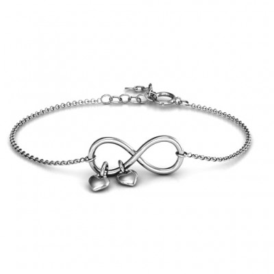 Infinity Promise Bracelet with Two Heart Charms - Crafted By Birthstone Design™
