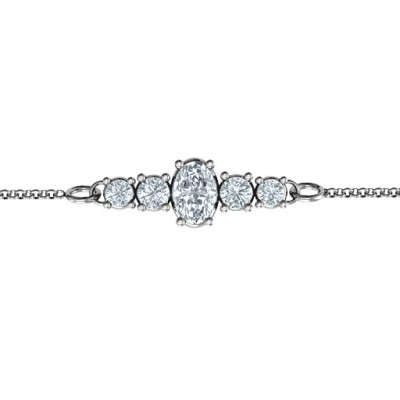 Oval Centre with 4 Side Round Stones Bracelet  - Crafted By Birthstone Design™