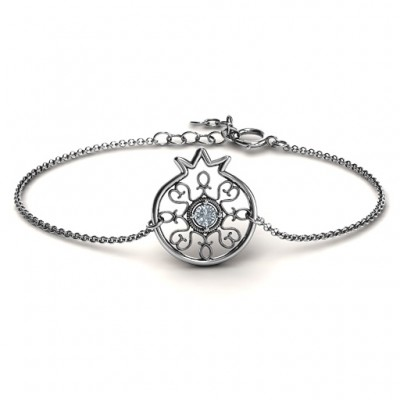 Personalised Pomegranate with Filigree Bracelet - Crafted By Birthstone Design™
