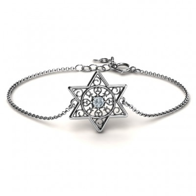 Personalised Star of David with Filigree Bracelet - Crafted By Birthstone Design™