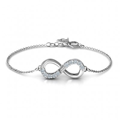 Sterling Silver Birthstone Accent Infinity Bracelet  - Crafted By Birthstone Design™