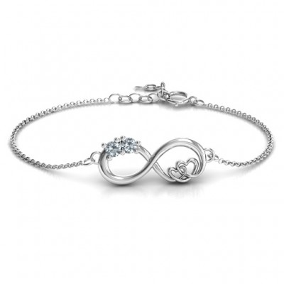Sterling Silver Double the Love Infinity Bracelet - Crafted By Birthstone Design™
