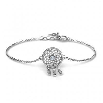 Personalised Sterling Silver Dream Catcher Bracelet - Crafted By Birthstone Design™