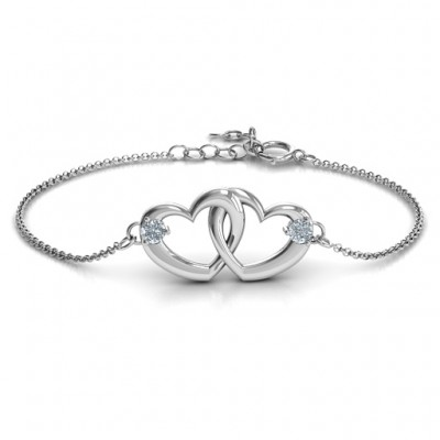 Sterling Silver Interlocking Heart Promise Bracelet with Two Stones  - Crafted By Birthstone Design™