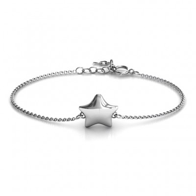 Personalised Sterling Silver Lucky Star Bracelet - Crafted By Birthstone Design™