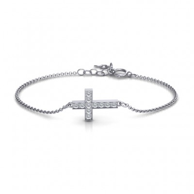Sterling Silver Shimmering Cross Bracelet With Cubic Zirconia Accent Stones  - Crafted By Birthstone Design™