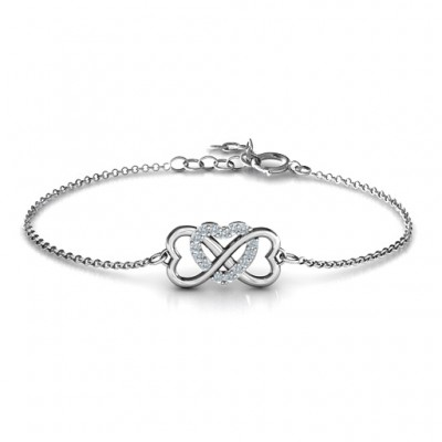 Personalised Triple Heart Infinity Bracelet - Crafted By Birthstone Design™