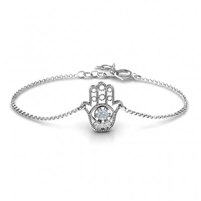 Personalised Upright Hamsa Bracelet - Crafted By Birthstone Design™